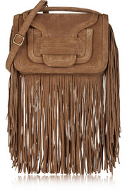 Fringed suede shoulder bag