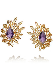 18-karat gold, citrine and amethyst earrings