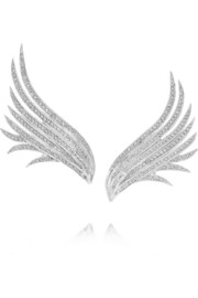 Wing 18-karat white gold diamond earrings