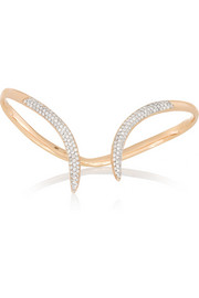 Stem 18-karat rose gold diamond hand bracelet