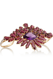 18-karat gold, citrine and amethyst two-finger ring