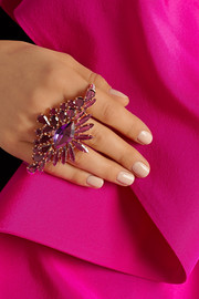 Ana Khouri 18-karat gold, citrine and amethyst two-finger ring