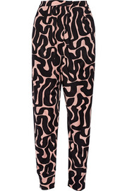 Ivy printed satin-jersey tapered pants