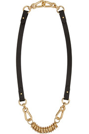 Finds + Moxham leather and gold-plated necklace