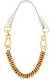 + Moxham Snipe gold-plated and leather necklace