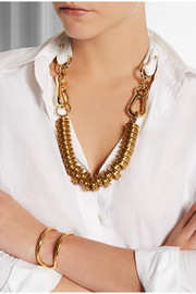 Finds + Moxham Snipe gold-plated and leather necklace