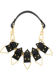 + Moxham Anubis gold-plated and leather necklace
