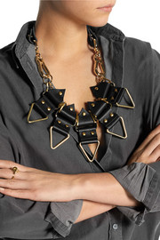 Finds + Moxham Anubis gold-plated and leather necklace