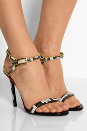 Neon-trimmed snake-effect leather sandals