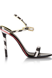Emilio Pucci Neon-trimmed snake-effect leather sandals