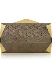 Roland Mouret Palais Royal textured-brass clutch