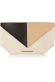 Classico color-block perforated leather clutch