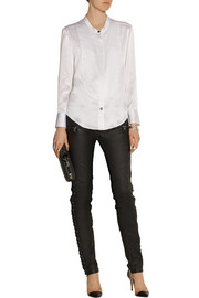 Mulberry bib-front silk-satin shirt