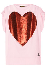 Foil-print cotton-jersey T-shirt