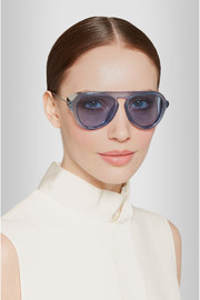Gucci Aviator-style acetate and metal sunglasses