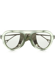 Aviator-style acetate and metal sunglasses