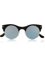 Roland Mouret Max Mirror round-frame metal and acetate sunglasses