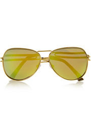 Aviator-style gold-plated mirrored sunglasses