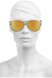 Roland Mouret Aviator-style gold-plated mirrored sunglasses