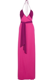 Dacey two-tone jersey-crepe wrap maxi dress