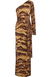 Diane von Furstenberg Coco one-shoulder animal-print silk-jersey maxi dress