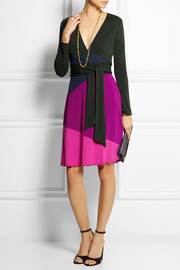 Diane von Furstenberg Marsha color-block jersey-crepe wrap dress