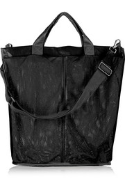 + IB&B leather-trimmed mesh shoulder bag