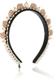 + Masterpeace Elephant agate, bead and pearl headband
