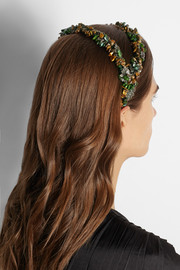 Finds + Masterpeace Tiger Eye malachite, quartz and velvet headband