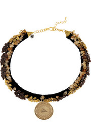 Finds + Masterpeace Oak Leaves gold-tone, amber and velvet necklace
