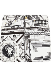 + Anthony Vaccarello printed stretch-cotton twill mini skirt