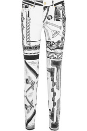 + Anthony Vaccarello printed mid-rise skinny jeans