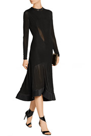 Esteban Cortazar Paneled jersey and stretch-knit midi dress