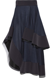 Tiered satin-jersey and neoprene midi skirt
