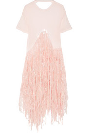 Fringed wool-blend jersey top