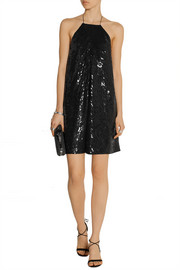Sequined silk-satin mini dress