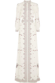 Florence printed silk-crepe gown