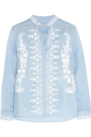 Estella embroidered wool-muslin blouse