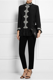 Marni embroidered silk crepe de chine top