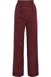 Lydia cotton and silk-blend wide-leg pants