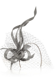 Philip Treacy Buntal scroll and Swarovski crystal-embellished veiled headpiece