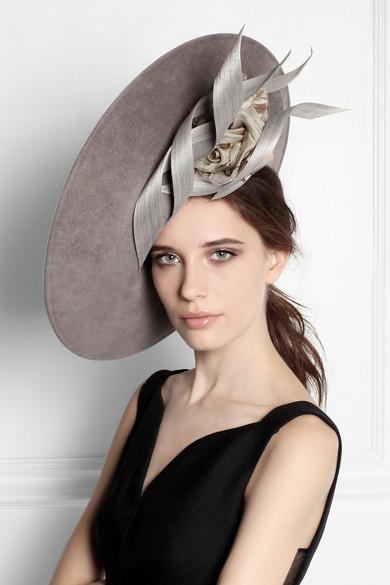 Philip Treacy. Buntal scroll and rose-embellished wool-felt hat. £540. Zoom  In c403eed30029