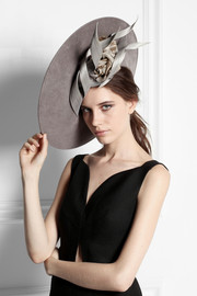 Buntal scroll and rose-embellished wool-felt hat