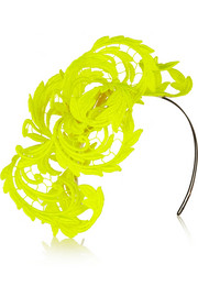 Neon guipure lace headpiece