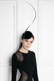 Feather-embellished velour headpiece