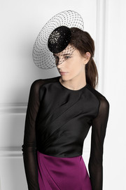 Swarovski crystal-embellished velour veiled headpiece