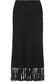 Anemone fringed cotton-blend maxi skirt