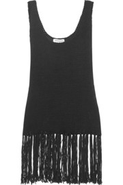 Zeus+Dione Iole fringed knitted cotton-blend top