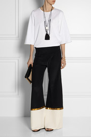 Zeus+Dione Alcyone paneled silk-crepe wide-leg pants