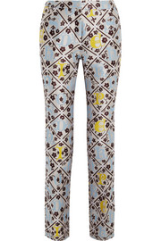 JQ silk-blend jacquard slim-fit pants